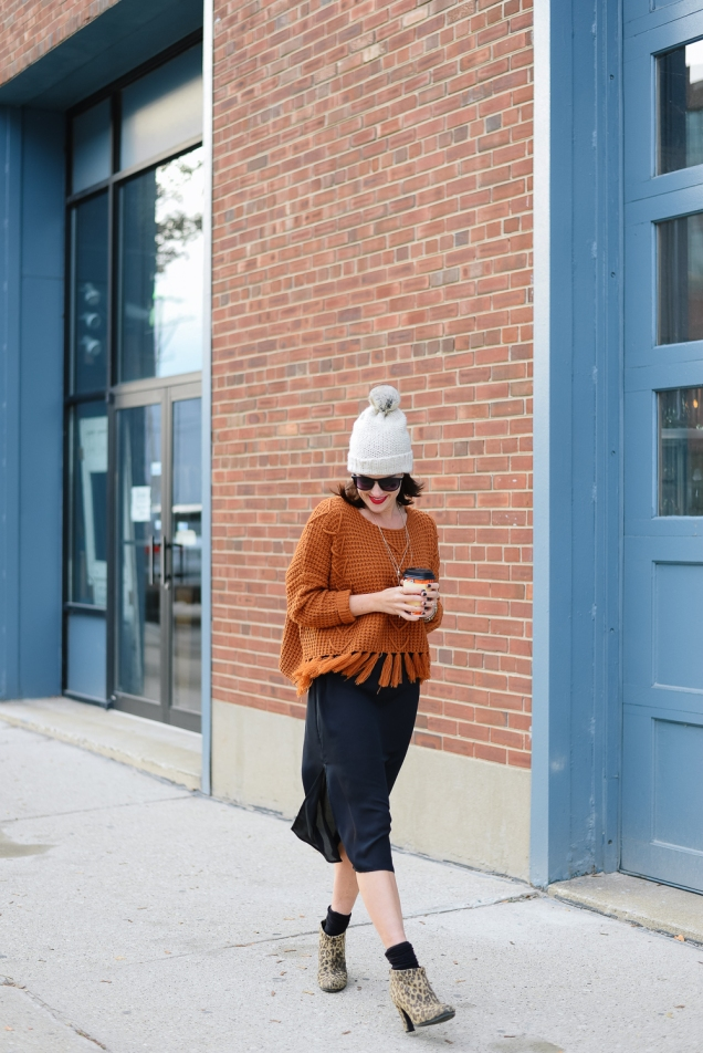 fall orange chunky knit